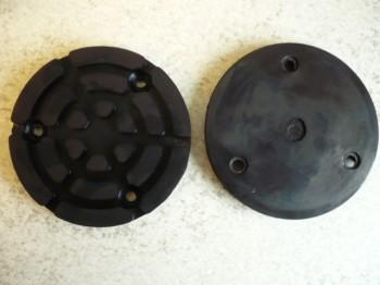 Auflageteller Gummiteller für Zippo Hebebühne (120mm x 16mm mit eingesetzter Stahleinlage + 3 Bohrungen)