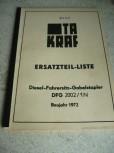 Ersatzteil-Liste Anleitung VTA Takraf VEB Gabelstapler DFG 2002/1N