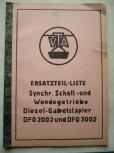 Ersatzteil-Liste Synchr. Schalt -und Wendegetriebe VTA Takraf Diesel - Gabelstapler DFG 2002 und DFG 3002