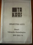 VEB DDR Gabelstapler Anleitung Ersatzteilliste Takraf VTA Stapler DFG 1002 N