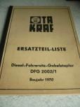 Ersatzteil-Liste Anleitung VTA Takraf Gabelstapler DFG 2002/1